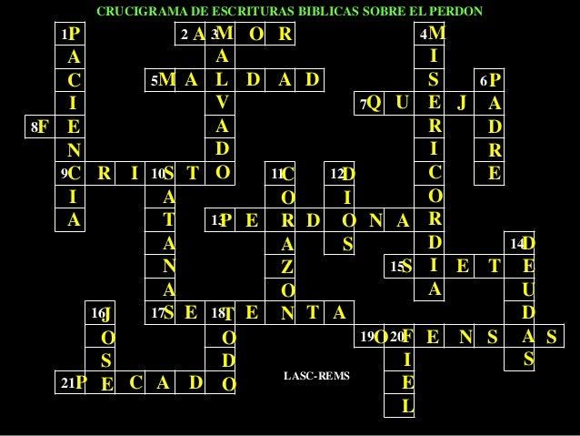 1 2 3 4 5 6 7 8 9 10 11 12 13 14 15 16 17 18 19 20 21 CRUCIGRAMA DE ESCRITURAS BIBLICAS SOBRE EL PERDON LASC-REMS P A C I ...