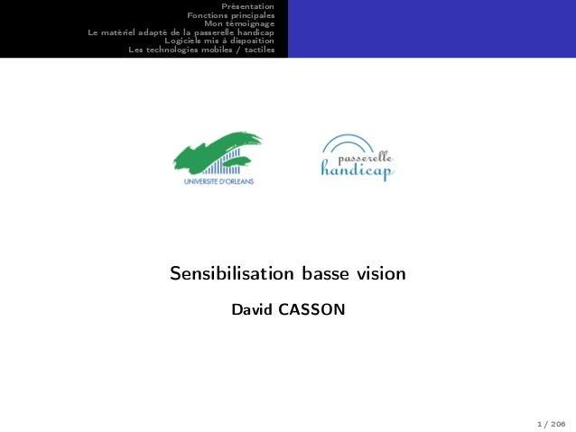 Présentation Fonctions principales Mon témoignage Le matériel adapté de la passerelle handicap Logiciels mis à disposition...