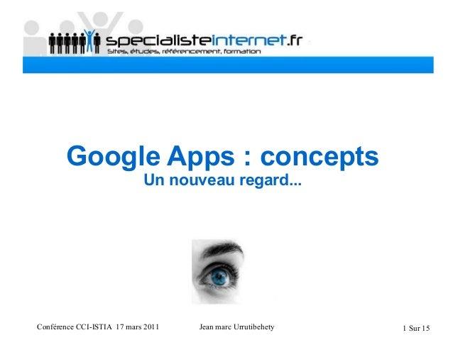 Conférence CCI-ISTIA 17 mars 2011 Jean marc Urrutibehety 1 Sur 15 Google Apps : concepts Un nouveau regard...