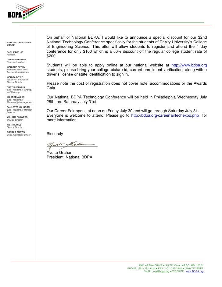 BDPA fers Discount to DeVry Students