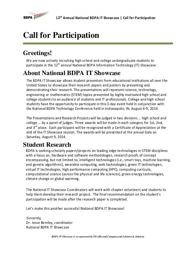 12th Annual National BDPA IT Showcase | Call for Participation  Call for Participation Greetings! We are now actively recr...