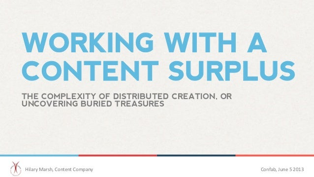 WORKING WITH ACONTENT SURPLUSTHE COMPLEXITY OF DISTRIBUTED CREATION, ORUNCOVERING BURIED TREASURES	  Hilary	  Marsh,	  Con...