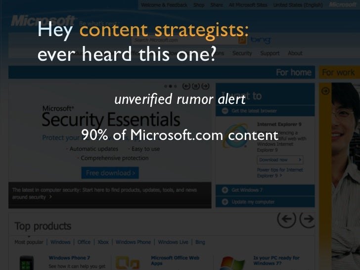 Hey content strategists:ever heard this one?         unverified rumor alert     90% of Microsoft.com content