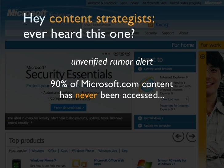 Hey content strategists:ever heard this one?         unverified rumor alert     90% of Microsoft.com content       has neve...