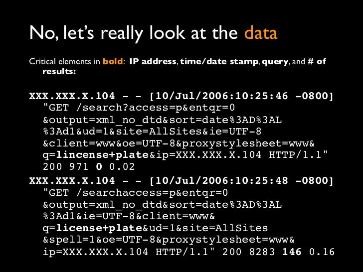No, let's really look at the dataCritical elements in bold: IP address, time/date stamp, query, and # of    results:XXX.XX...