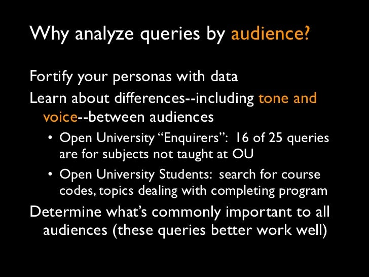 Why analyze queries by audience?Fortify your personas with dataLearn about differences--including tone and  voice--between...