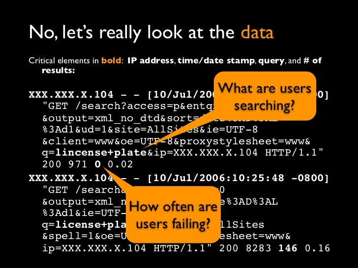 No, let's really look at the dataCritical elements in bold: IP address, time/date stamp, query, and # of    results:      ...