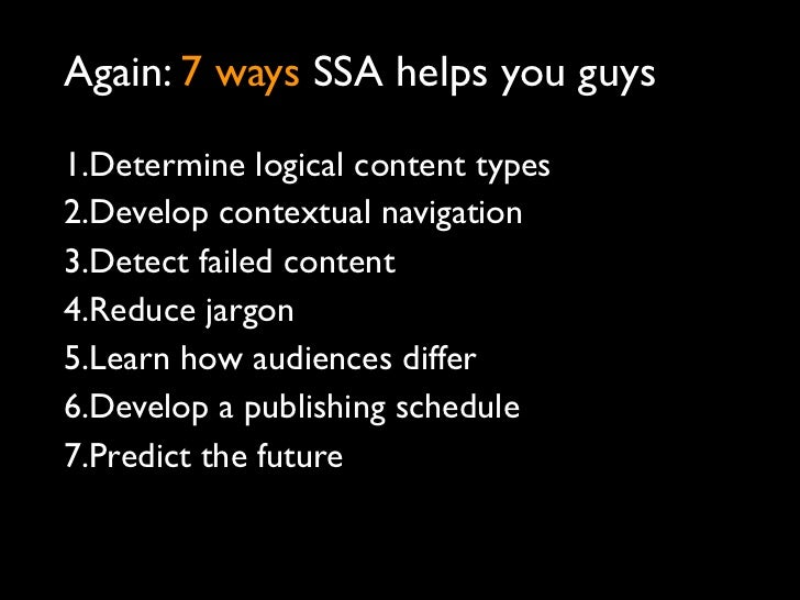 Some things you can do right away1.Set up SSA in Google Analytics2.Query your queries3.Start developing a site report card