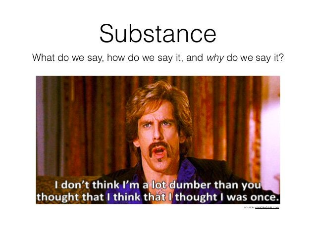 Substance What do we say, how do we say it, and why do we say it? source: pandawhale.com