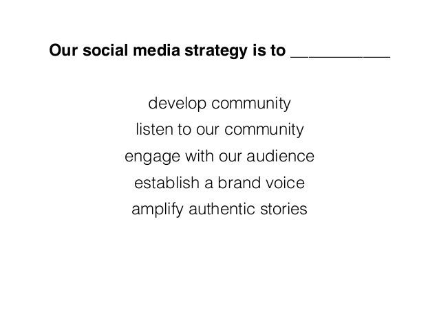 Our social media strategy is to ___________ develop community listen to our community engage with our audience establish a...