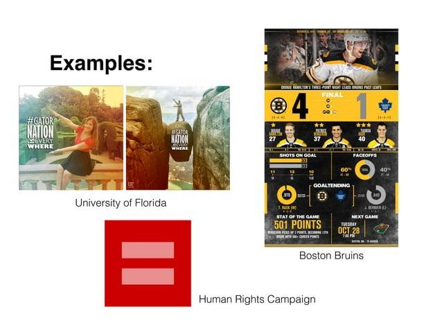Examples: University of Florida Boston Bruins Human Rights Campaign