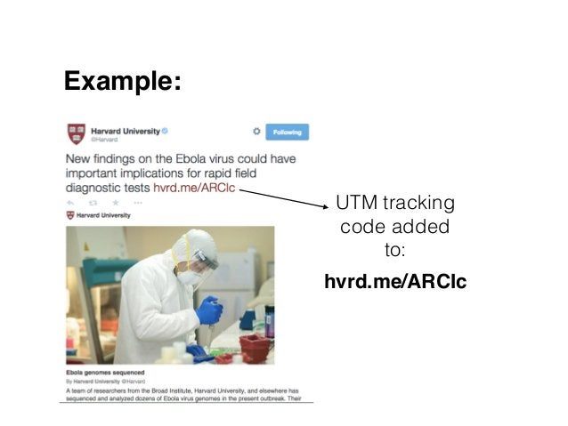 Example: UTM tracking code added to: hvrd.me/ARCIc !