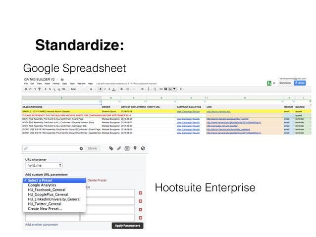 Standardize: Google Spreadsheet Hootsuite Enterprise