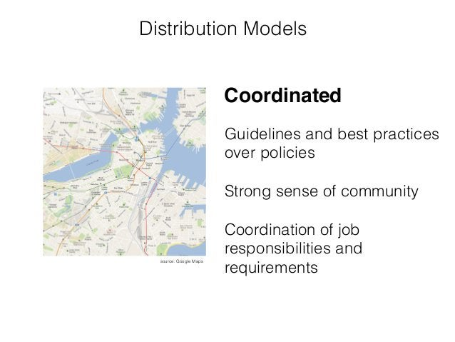 Distribution Models source: Google Maps Guidelines and best practices over policies ! Strong sense of community ! Coordina...