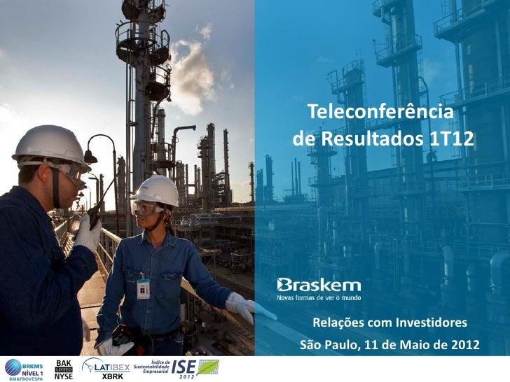 Teleconferênciade Resultados 1T12  Relações com InvestidoresSão Paulo, 11 de Maio de 2012