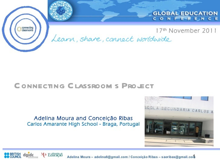 Connecting Classrooms Project Adelina Moura and Conceição Ribas Carlos Amarante High School - Braga, Portugal 17 th  Nov...