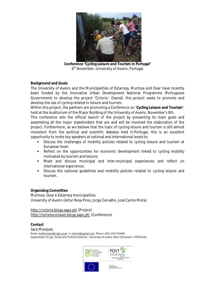 Conference 'Cycling Leisure and Tourism in Portugal'                                6th November, University of Aveiro, Po...