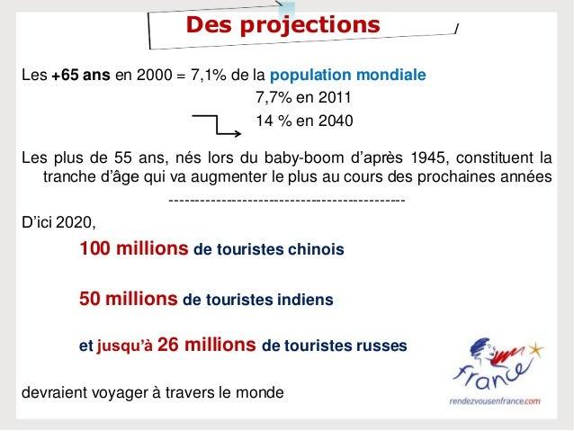 Des projectionsLes +65 ans en 2000 = 7,1% de la population mondiale7,7% en 201114 % en 2040Les plus de 55 ans, nés lors du...