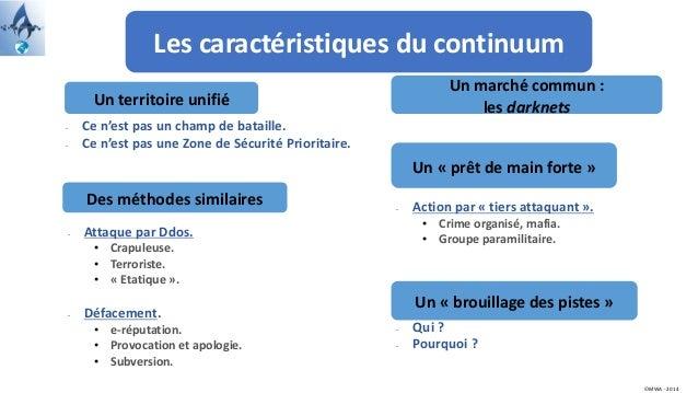 Les caractéristiques du continuum Un territoire unifié Des méthodes similaires Un marché commun : les darknets Un « prêt d...