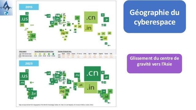 Un cyberespace plus vaste, peuplé, diversifié… Géographie du cyberespace Glissement du centre de gravité vers l'Asie Géogr...