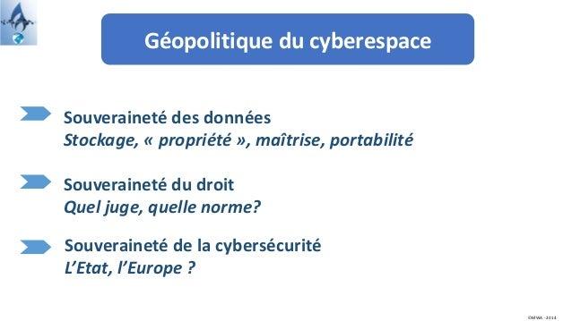 Géopolitique du cyberespace ©MWA - 2014 Souveraineté des données Stockage, « propriété », maîtrise, portabilité Souveraine...