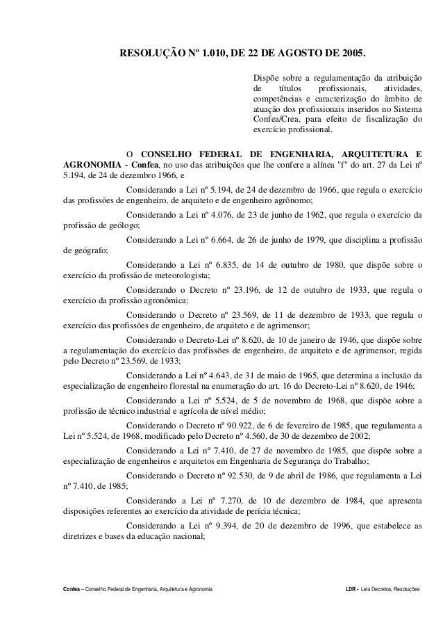 Confea – Conselho Federal de Engenharia, Arquitetura e Agronomia LDR - Leis Decretos, Resoluções RESOLUÇÃO Nº 1.010, DE 22...