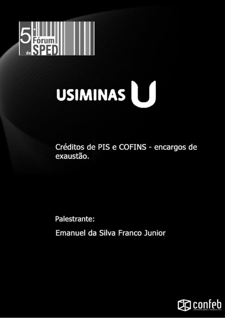 Usiminas        Validação e Estratégia das        Operações para o Pis e Cofins15/06/2011Agenda•   Usiminas – quem somos?•...