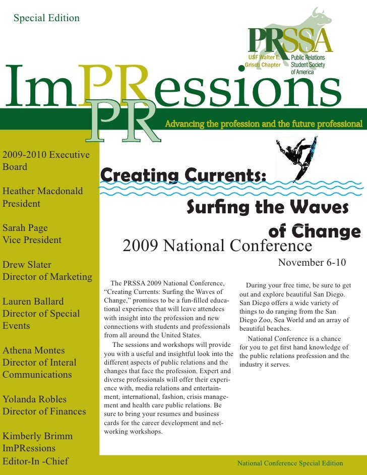 Special Edition     ImPRessions   PR 2009-2010 Executive Board                         Creating Currents: Heather Macdonal...