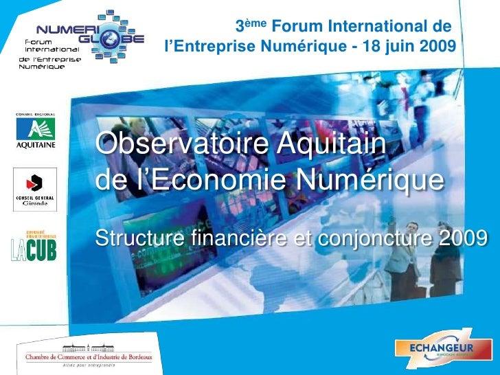 3ème Forum International de        l'Entreprise Numérique - 18 juin 2009     Observatoire Aquitain de l'Economie Numérique...