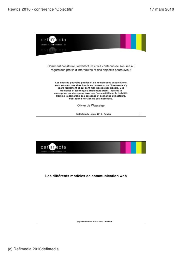 "Rewics 2010 - conférence ""Objectifs""                                                                      17 mars 2010    ..."