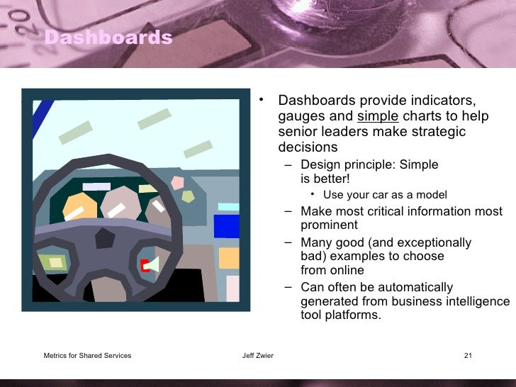 Dashboards <ul><li>Dashboards provide indicators, gauges and  simple  charts to help senior leaders make strategic decisio...