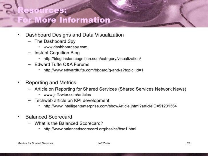 Resources: For More Information <ul><li>Dashboard Designs and Data Visualization </li></ul><ul><ul><li>The Dashboard Spy <...