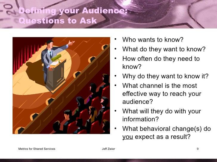 Defining your Audience:  Questions to Ask <ul><li>Who wants to know? </li></ul><ul><li>What do they want to know? </li></u...