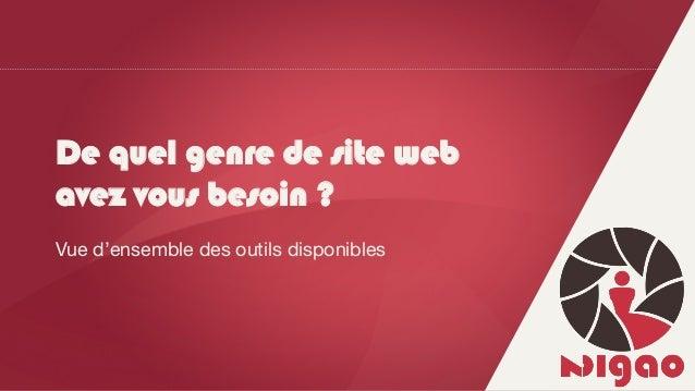 De quel genre de site web avez vous besoin ? Vue d'ensemble des outils disponibles