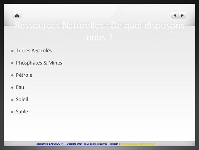 Ressources  Naturelles  :  De  quoi  disposons  nous  ?  l Terres  Agricoles  l Phosphates  &  Mines  Mohamed  BALGHOUTH...