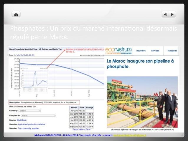 Phosphates  :  Un  prix  du  marché  interna2onal  désormais  régulé  par  le  Maroc  Mohamed  BALGHOUTHI  –  Octobre  201...