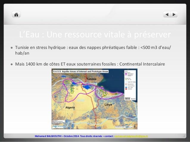 L'Eau  :  Une  ressource  vitale  à  préserver  l Tunisie  en  stress  hydrique  :  eaux  des  nappes  phréa2ques  faible...