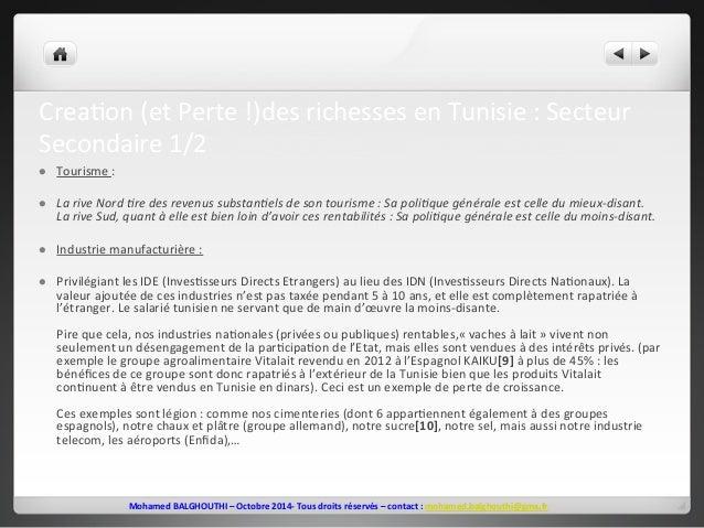 Crea2on  (et  Perte  !)des  richesses  en  Tunisie  :  Secteur  Secondaire  1/2  l Tourisme  :  l La  rive  Nord  >re  d...