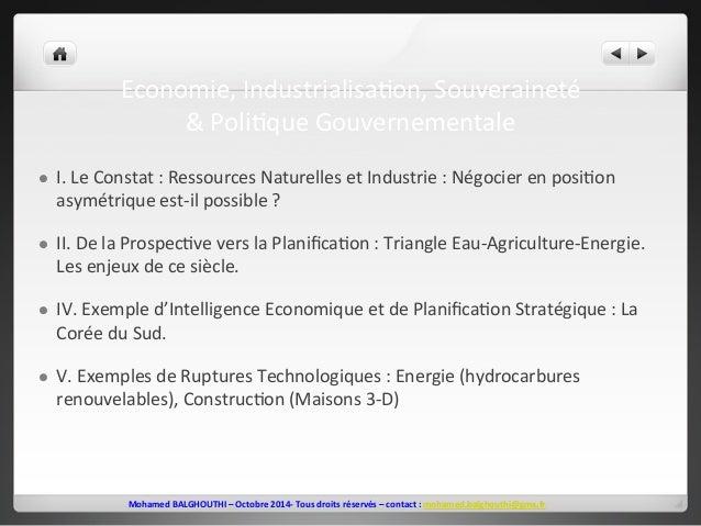 Economie,  Industrialisa2on,  Souveraineté  &  Poli2que  Gouvernementale  l I.  Le  Constat  :  Ressources  Naturelles  e...