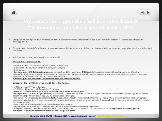 """Pré-‐Conclusion  :  peEt  clin  d'oeil  à  certains  discours  """"économiques""""  populistes  post  14  Janvier  2011  l Lor..."""