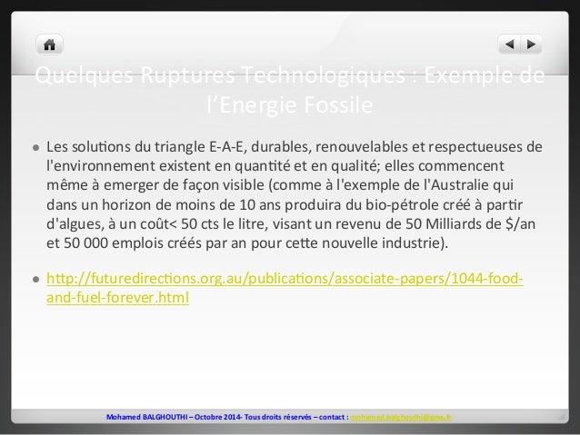 Quelques  Ruptures  Technologiques  :  Exemple  de  l'Energie  Fossile  l Les  solu2ons  du  triangle  E-‐A-‐E,  durabl...