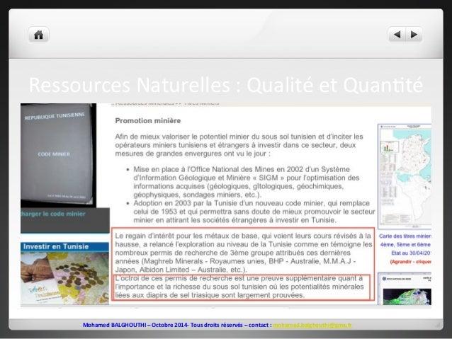 Ressources  Naturelles  :  Qualité  et  Quan2té  Mohamed  BALGHOUTHI  –  Octobre  2014-‐  Tous  droits  réservés  –  cont...