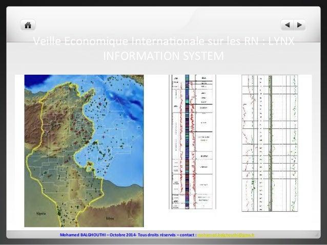 Veille  Economique  Interna2onale  sur  les  RN  :  LYNX  INFORMATION  SYSTEM  Mohamed  BALGHOUTHI  –  Octobre  2014-‐  T...