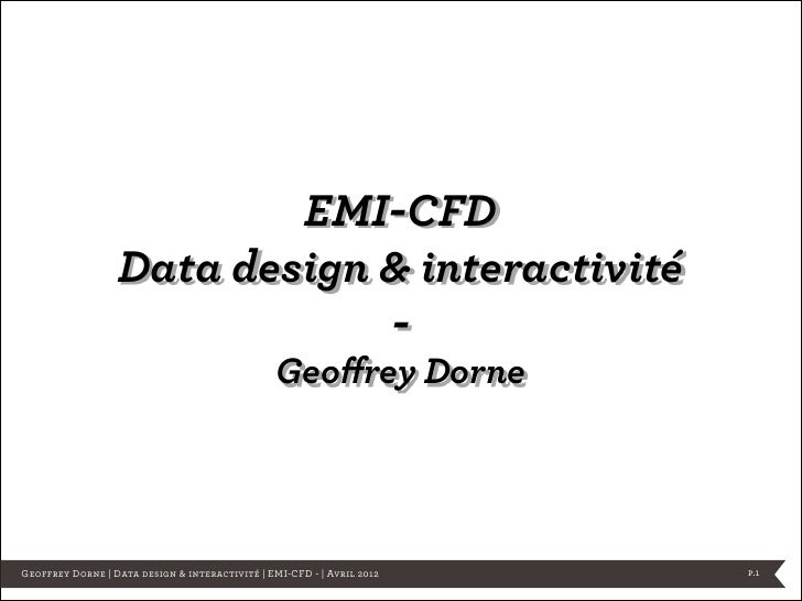 EMI-CFD                  Data design & interactivité                              -                                       ...