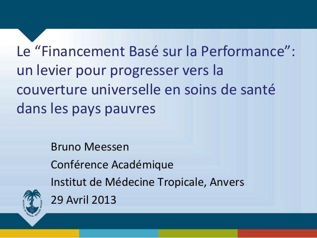 """Le """"Financement Basé sur la Performance"""": un levier pour progresser vers la couverture universelle en soins de santé dans ..."""
