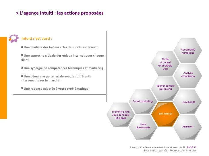 > L'agence Intuiti : les actions proposées <ul><li>Une maîtrise des facteurs clés de succès sur le web. </li></ul><ul><li>...