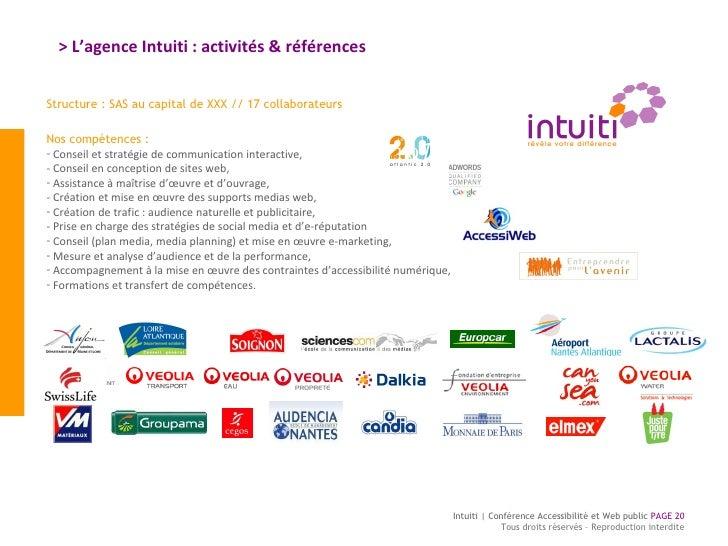 > L'agence Intuiti : activités & références Intuiti | Conférence Accessibilité et Web public  PAGE  Tous droits réservés –...