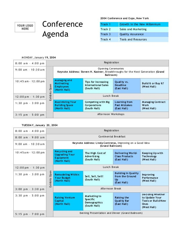 Conference Agenda Template. MONDAY, January 19, 2004 8 : 0 0 A M U2013 4 : 0 0  ...  Agenda For Meeting Template