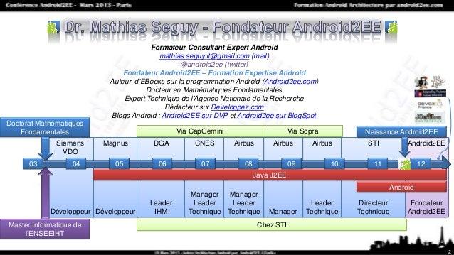 """Conférence """"Architecture Android"""" du 19 Mars 2013 par Mathias Seguy fondateur d'Android2EE spécialiste de la formation Android. Slide 2"""