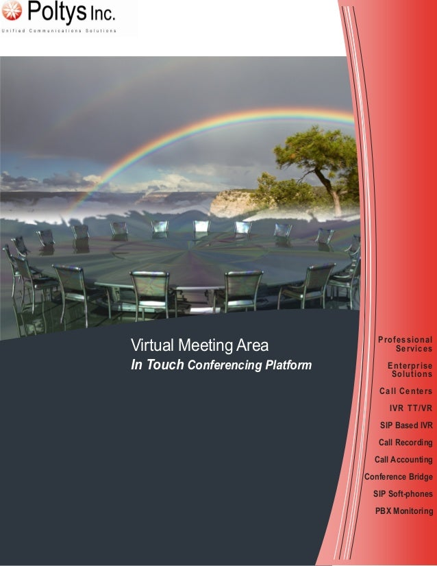 Virtual Meeting Area In Touch Conferencing Platform Professional Services Enterprise Solutions Call Centers IVR TT/VR SIP ...